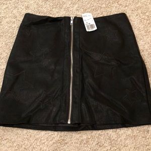 Black Leather Skirt  w/ Zipper & Star Detail